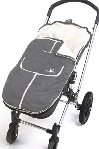 Wallaboo fußsack, Universal für Kinderwagen und Buggy, Mit Teddyplusch, Wind- und Wetterfest, 6 Mon. bis 3 Jahre, Farbe: Grau
