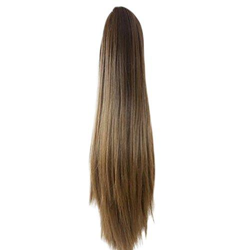 LILICAT Perruque de Femmes Femmes Mode Pince Pince Longue Ligne Droite Queue de Cheval Extensions de Cheveux Perruque postiche Longue Perruque Extension de Cheveux raides (D)