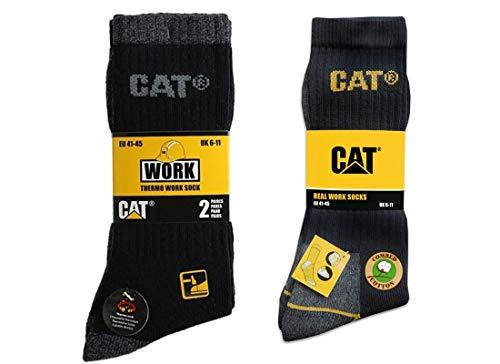 Caterpillar CAT Socken Winterpaket in 41-45 - Universal-Arbeitssocken und Thermo-Arbeitssocken, in Schwarz oder Grau (41-45, 10 Paar Schwarz (6 Universal + 4 Thermo))