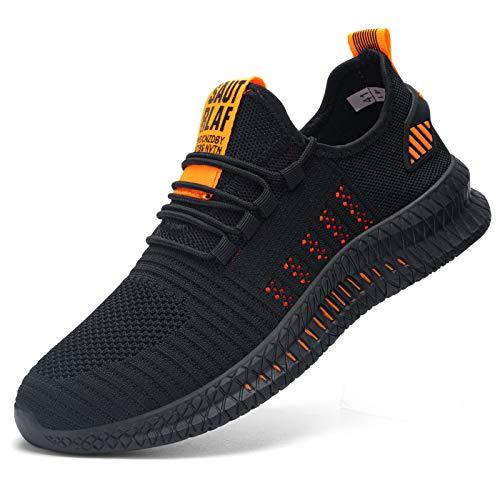 Kefuwu Laufschuhe Herren Sportschuhe Straßenlaufschuhe Sneaker Joggingschuhe Atmungsaktiv Turnschuhe Walkingschuhe Traillauf Fitness Schuhe Outdoor(Schwarz Orange 43)
