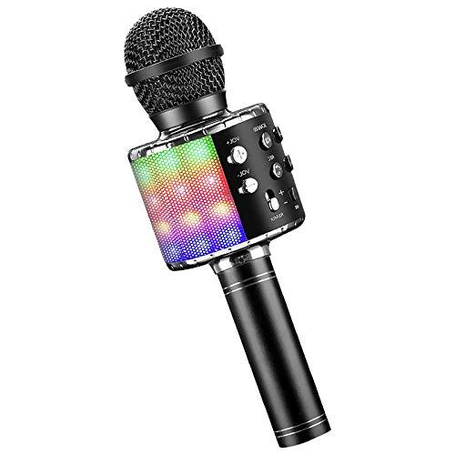 Microfono per karaoke wireless Bluetooth 4 in 1 con luci a LED, microfono portatile portatile per bambini, lettore KTV domestico con funzione di registrazione (Black)