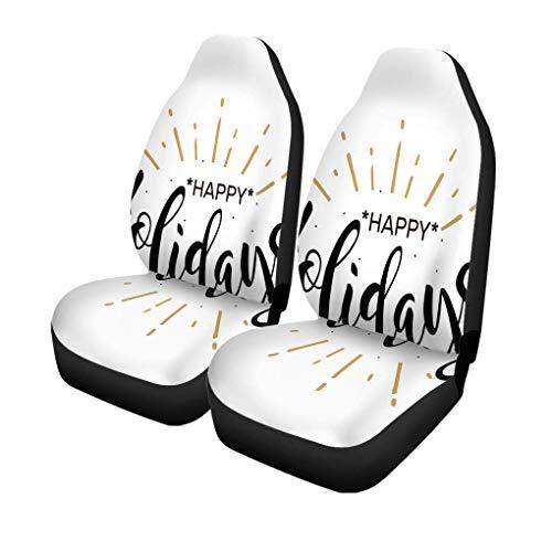 ngwanxinqu Autositzbezüge Frohe Feiertage Schöne Black Word Gold Feuerwerk Moderne Pinsel Set von 2 Autozubehör Protektoren Car Decor Universal Fit für Auto LKW SUV