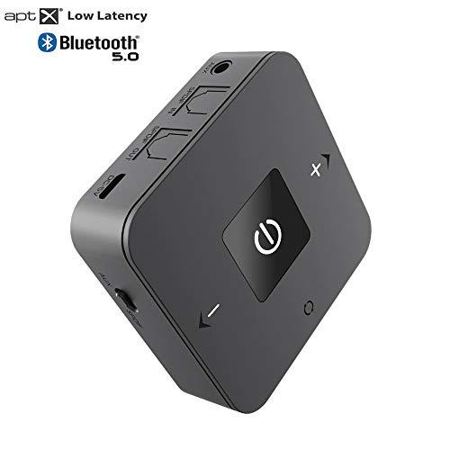 DIGMALL Receptor inalámbrico de transmisor Bluetooth, de Largo Alcance para audífonos de PC con TV estéreo para el hogar Enlace Dual con Aptx de Baja latencia, Optcal Digital / AUX / RCA