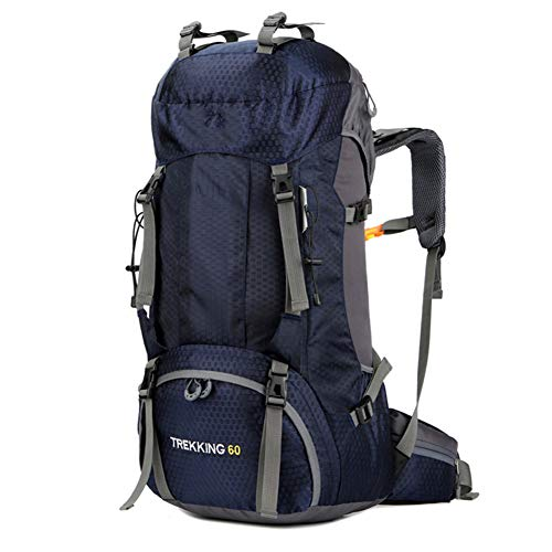 60L Mochila De Senderismo Impermeable, Gran Capacidad Bolsa De Emergencia Mochila De Trekking, Macutos De Impermeable Multifuncional, Para Excursionismo Camping Viajar Actividades Al Aire Libre,Azul