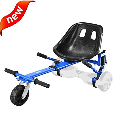Hishine Go Kart Conversion Kit for Hoverboard Accessories Attachment Cart Seat Adjustable for All Ages for Electric Scooter (Blue)