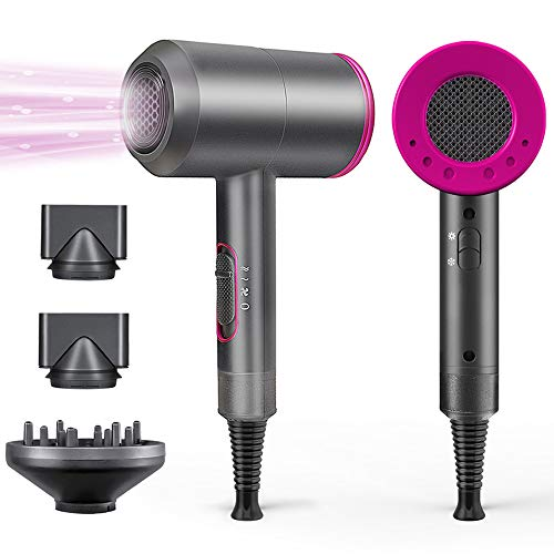 1800W Professional Hair Dryer with Diffuser Ionic Conditioning - Powerful, Fast Hairdryer Blow Dryer,AC Motor Heat Hot and Cold Wind Constant Temperature Hair Care Without Damaging Hair