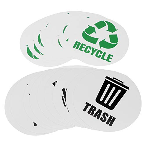 Omabeta Etiqueta de Basura Impermeable Etiqueta de Reciclaje Etiqueta de Reciclaje para latas Contenedores de Basura Papelera