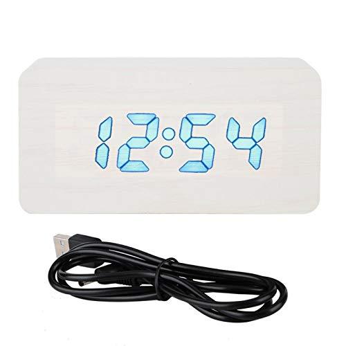 Sveglia digitale, orologio da comodino a LED con 3 modalità di illuminazione, volume regolabile, sveglia con visualizzazione dell'umidità della temperatura per l'ufficio della camera da letto(bianca)