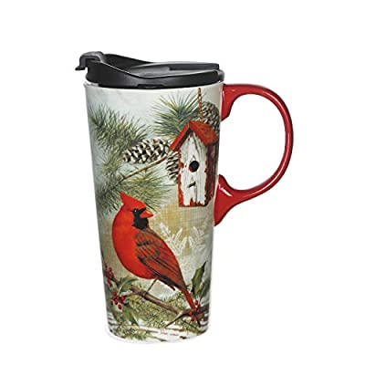 Red Cardinal On Pine Branch Ceramic Coffee To Go Cup