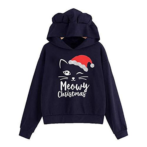 Moda Sudaderas Jersey Sweater Sudadera De Mujer Casual Cute Ear Hoody Sudadera con Capucha Suelta con Estampado De Navidad Sudadera De Manga Larga para Mujer L 02