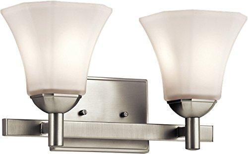 Kichler 45732NI Serina Vanity, 2 Light Incandescent 200 Total Watts, Brushed Nickel