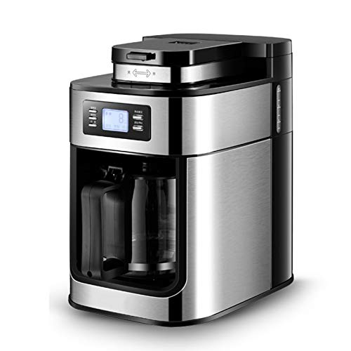 Ouumeis Kaffeevollautomat,1,2 l vollautomatische Smart Amerikanische Kaffeemaschine,Tropfart mit Filter Kann Kaffeebohnen Mahlen Kann warm,1000W Hochleistungs-Kaffeemaschine aus Edelstahl