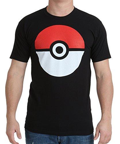Pokemon Poke Ball Adult Black T-Shirt (X-Large)
