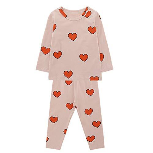 WAo Conjunto de pijama de dos piezas para bebé con estampado de luna y texto en alemán rojo 5 años