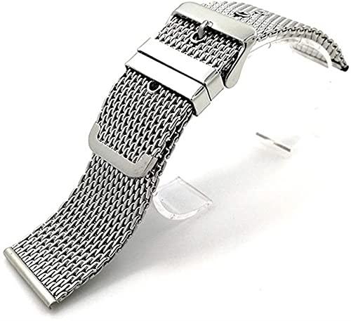 chenghuax Correa de reloj de 18 mm, 20 mm, 22 mm, 24 mm, acero inoxidable, universal, hebilla de correa (color: plata, tamaño: 18 mm)