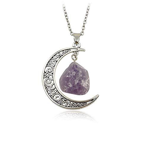 DGSDFGAH Collar De Mujer Vintage Irregular Purple Moon Spar Cristales De Cuarzo Collares Pendientes De Piedra Natural, para Mujeres, Hombres, Niñas, Regalo De Fiesta De Cumpleaños, Cadena De Claví
