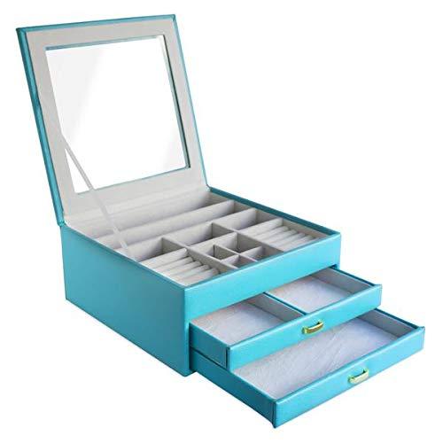CORDAYS - Damen Schmuckkasten mit 3 Schubladen und Einer Glasvitrine. Organizer Box mit Tisch – Premium Qualität – Handgefertigt  CDL-10009A