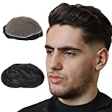 Human Hair Toupee for Men 6x8 Inch Full French Lace Cap European Virgin Hair Men's Wigs Hairpieces Replacement System Natural Wave Off Black(#1b)