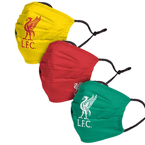 Forever Collectibles UK Liverpool FC Premier League EPL Football 3 Pack Pleated Fashion Face Cover Mask with Club Crest