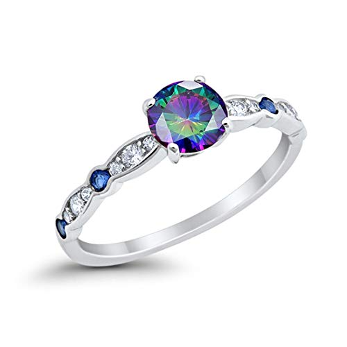 Blue Apple Co. Fancy Wedding Engagement Ring Round Simulated Rainbow Topaz & Cubic Zirconia 925 Sterling Silver, Size-7