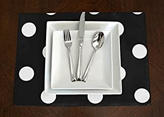 A LuxeHome Black and White Modern Contemporary Large Polka Dot Placemat Topper Table Mat Set of 4