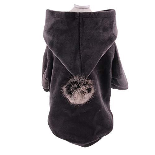 Ropa para Mascotas Otoño E Invierno Ropa para Perros Abrigo Sudadera con Capucha Ropa Acolchada De Algodón Suéter De Dos Piernas Ropa para Gatos L Gris