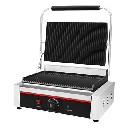 FUZION Commercial Sandwich Maker Griller for Jumbo Breads (Silver)