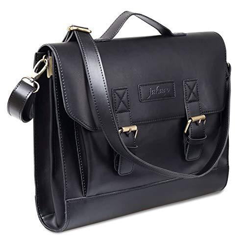 Retro Satchel Leather Briefcase Handbag 13.3' Macbook Laptop Bag Messenger Shoulder Bag With Updated Shoulder Strap for Men Women by JAKAGO (Black)