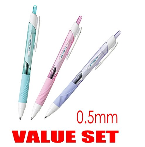 uni-ball Jetstream Extra Fine Point Click Retractable Roller Ball Pens,-Rubber Grip Type -0.5mm-Black Ink-Color Body Type-Sky Blue,Light Pink,Lavender Body- Each 1 Pen- Value Set of 3