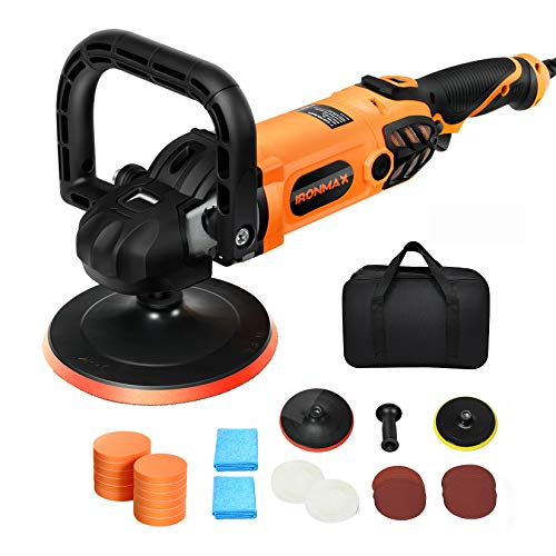 Goplus Rotary Buffer Polisher, 1400W 6-inch and 7-inch Car Waxer 6 Speed from 600 RPM to 3200 RPM w/ 12 PCS Polishing Pads, Wool Disc for Car Furniture Boat