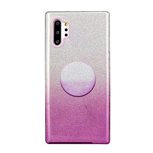 Nadoli für Samsung Galaxy Note 10 Plus Gradient Glitzer Hülle,3 Schicht Glänzende Stoßfest Silikon Stoßdämpfung Transparent Hart Hybride Dünn Glitzer Schutzhülle Handyhülle mit Ständer