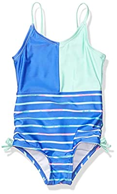 Nautica Girls One Piece Swimsuit with UPF 50+ Sun Protection, Watercolor Dazzle Blue, S7