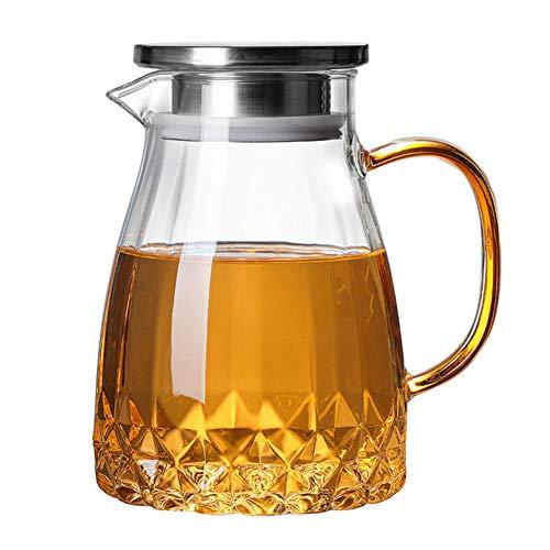 1000 ml de vidrio transparente hervidor de gran capacidad jarra de té con tapa hogar jarra de agua de vidrio para el té caliente frío jugo de té