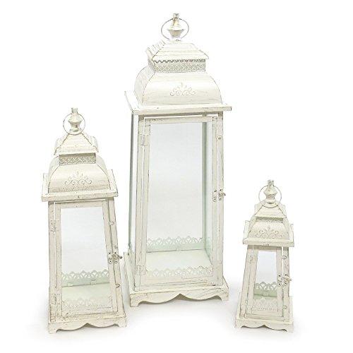 Grafelstein 3tlg. Set Laterne Lugano Creme weiß antik aus Metall Ornament verziert