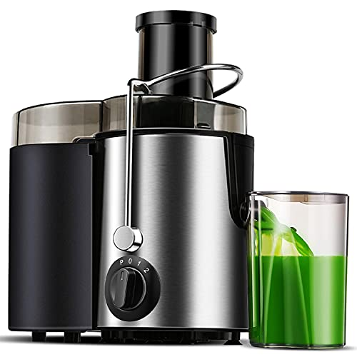 """Juicer Machine, 400W Juicer with Big Mouth Large 3"""" Feed Chute for Whole Fruit and Vegetables Easy to Clean, Stainless Steel Centrifugal Juicer with 3 Speed Setting, Silver"""