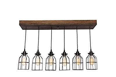 West Ninth Vintage Fayette Wood Pendant Chandelier Light - Farmhouse Rustic Lighting for Kitchen Island - Dining Room - Bar - Industrial - Billiard Table - Edison Cages - Six Pendants - Jacobean