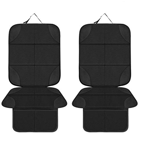 FXXDUS Car Seat Protector for Child Car Seat - 2 Pack Protectors for Carseats - XL Thickest Mat Cover & Waterproof 600D Fabric & 2 Large Pockets for Handy Storage, Auto Crash Test Approved, Not Melt