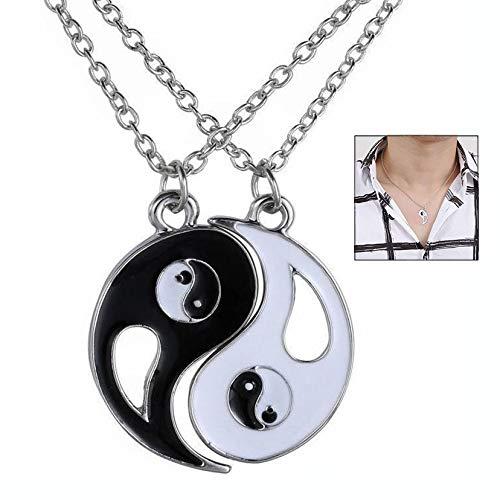 iwobi 2 stuks Yin Yang ketting, sieraden puzzel hanger in Yin-yang ontwerp voor jongens, meisjes, beste vrienden, liefhebbers en koppels