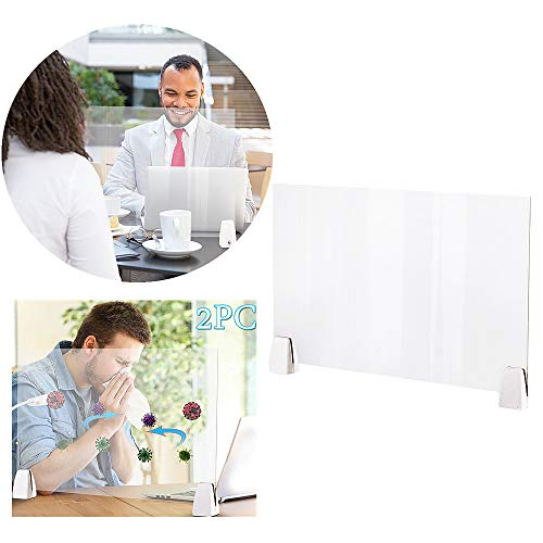 Min226 Protective Sneeze Guard, Clear Acrylic Plexiglass Shield for Counters, Countertop Portable Protective Barrier, Protect Employees & Customers 19.68'' x 12.60'' (1)