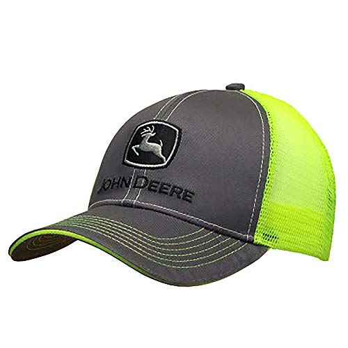 John Deere Charcoal with Neon Yellow Mesh Backing Snapback Hat - 13080411CH00, Charcoal/Neon Yellow, One Size