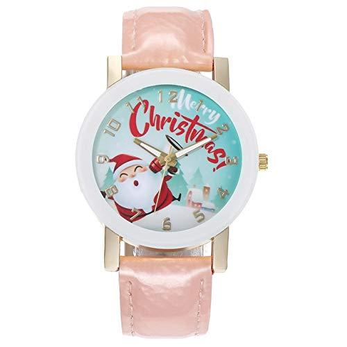 Tongjun El Reloj de Cuarzo de la Correa del Reloj de Wirst Escala Nueva Santa Claus Digital de Hombres y Mujeres con balanza Digital for Reloj de Cuarzo (Color : Pink)