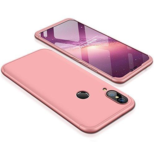 BCIT Huawei P20 Lite Funda Funda Huawei P20 Lite 360 Grados Integral para Ambas Caras + Cristal Templado, Luxury 3 in 1 PC Hard Skin Carcasa Case Cover para Huawei P20 Lite (Rose Oro)