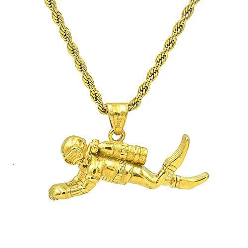 Collares Colgante Joyas Nuevo Collar con Dije De Acero Inoxidable 316L para Hombre, Collar con Colgante En Forma De Buzo 3D, Joyería De Rock Hip Hop, Regalo-B_55Cm