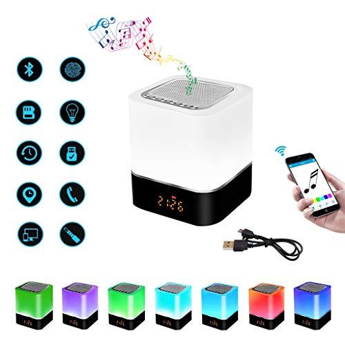 GGHKDD 2021 nuevo Lámpara de altavoz Bluetooth, luz nocturna 5 en 1, altavoz Bluetooth, calendario digital, reloj despertador, control táctil, batería 1200 mAh, soporte tarjeta TF SD, el mejor regalo