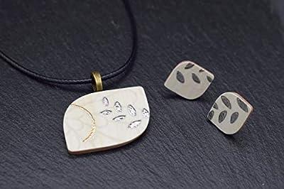 Bijoux-céramique-designer-ensemble femmes collier avec pendentif boucles d'oreilles en beige or argent lé fait main bijoux-femme-fantaisie