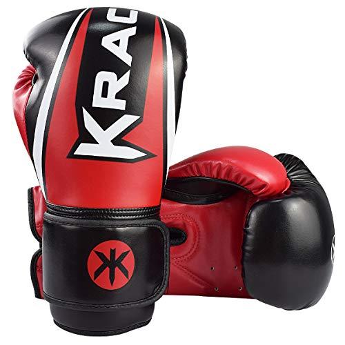 KRACE Boxhandschuhe für Muay Thai Training, Leder Punchinghandschuhe 6oz 8oz 10oz 12oz 14oz 16oz für Sparring Sandsack Boxen Kampfsport Box Handschuhe Boxing Gloves Kinder Damen Herren (Rot, 8 oz)