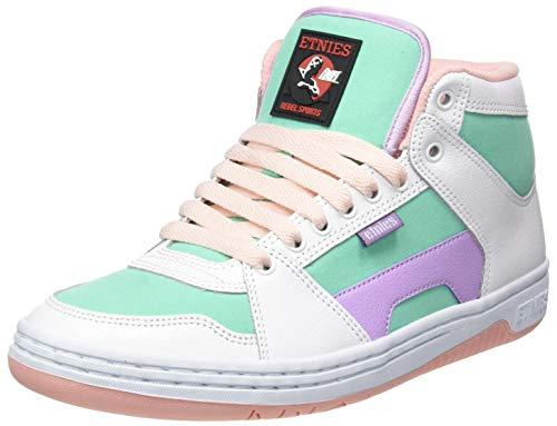 Etnies Women's Mc Rap High Top Woemn's Skate Shoe, White/Green