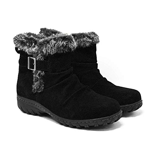 Khombu Women's All-Weather Lindsey Suede Boots (7, Black)