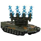 Tnfeeon 1:64 Aleación Rastreador Militar Modelo de Tanque de Lanzamiento de misiles antiaéreos, Guerra Realista Vehículo de Batalla Militar Vehículo de Juguete Regalos para niños Mayores de 3 años