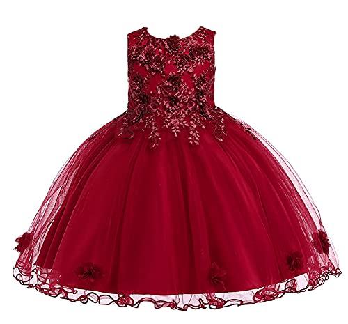 WAWALI Vestido de niña de Navidad de la boda princesa tutú fiesta eventos vestidos para niña adolescente vestido ceremonias niños ropa de 3 a 10 años, granate, 3-4 Años